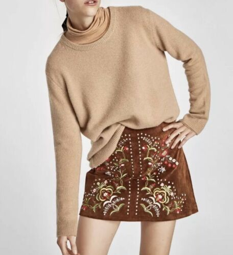 NWT ZARA AW17 CAMEL EMBROIDERED STUDDED GENUINE LEATHER SUEDE SKIRT/_XS S M L