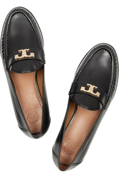 New TORY BURCH Townsend glossy black leather gold T loafers flat flats shoes 5