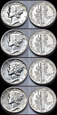 Set of World War II Mercury Silver Dimes 1941-1945 All 15 Coins F-VF Condition