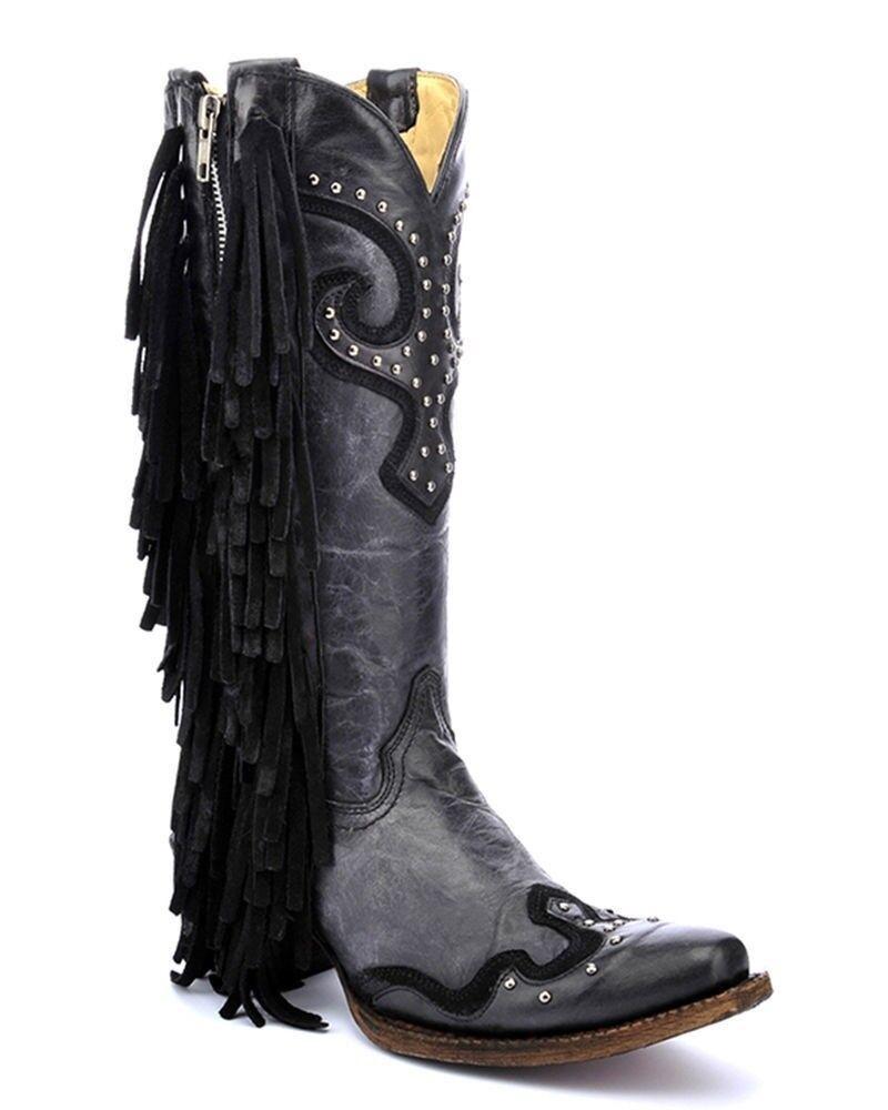 Corral Ladies Snip Toe Black Grey Studs & Side Fringe Western Boots A3148