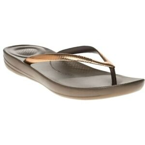 94732e493bb0e9 Image is loading New-Womens-FitFlop-Brown-Metallic-Iqushion-Rubber-Sandals-