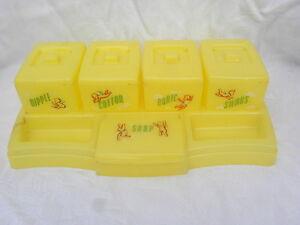 Vintage Yellow Clarolyte Plastic Baby Dresser Organizer Vanity Tray & Jar Set