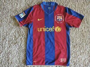 Rare Nike 1957 2007 Camp Nou Fc Barcelona Unicef Home Soccer Jersey Size S Ebay
