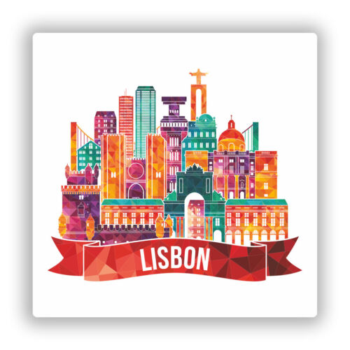 2 X Pegatinas De Vinilo Horizonte de Lisboa viaje equipaje #10057