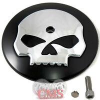 Black & Chrome Skull Air Filter Cleaner Cover Insert For Harley Davidson Intake