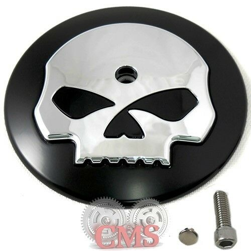Skull Air Cleaner Cover : Black chrome skull air filter cleaner cover insert for