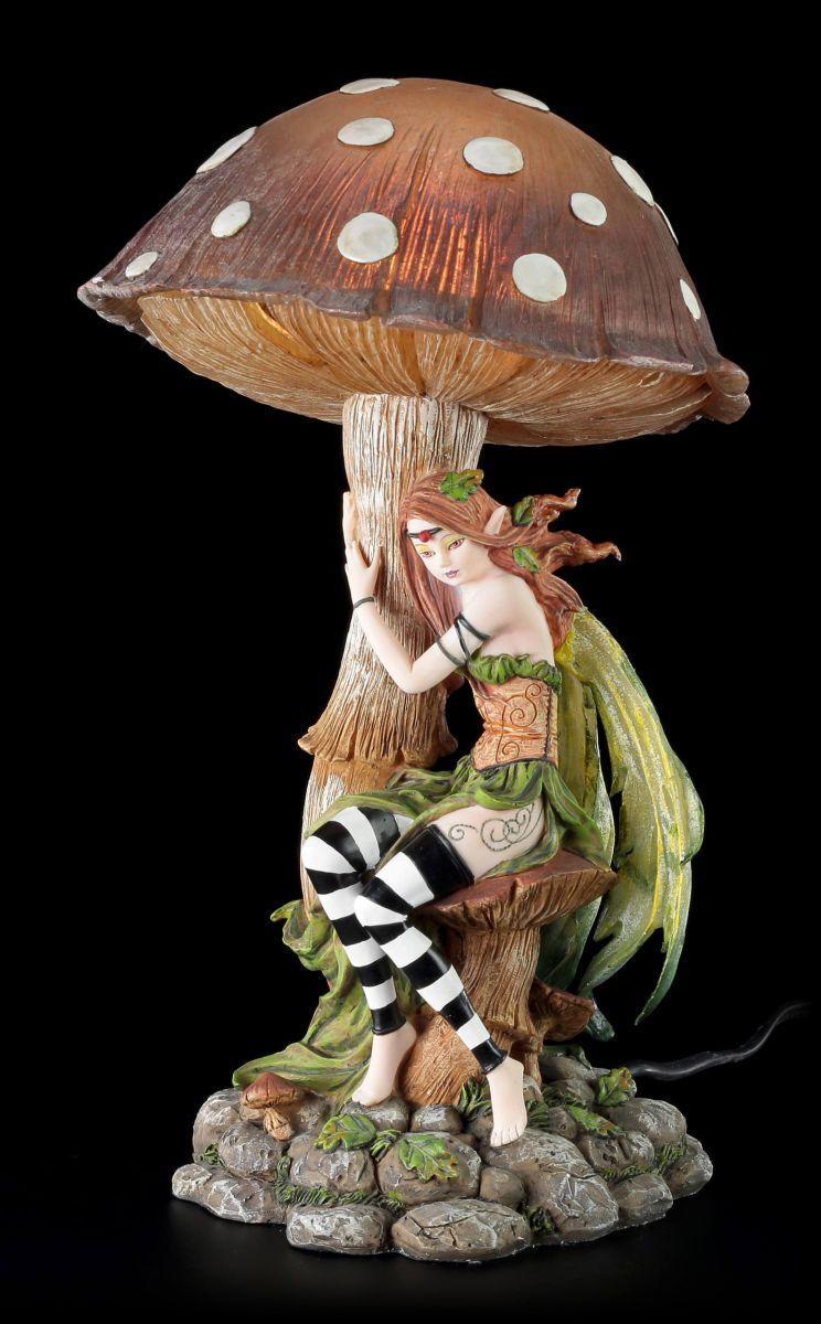 Figura Elfos como como como luz de noche con Seta - Grün Lámpara Decoración Fairy Estatua 52d125