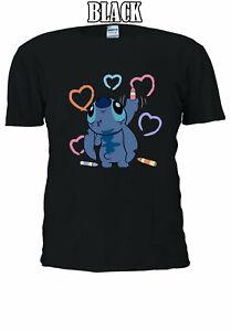 Disney-Lilo-and-Stitch-Ohana-Painting-stitch-Men-Women-T-shirt-Unisex-V165