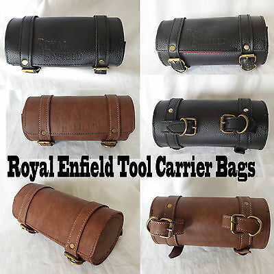 ROYAL ENFIELD UNIVERSAL VINTAGE BROWN LEATHER TOOL ROLL BAG LOGO MOTORCYCLES
