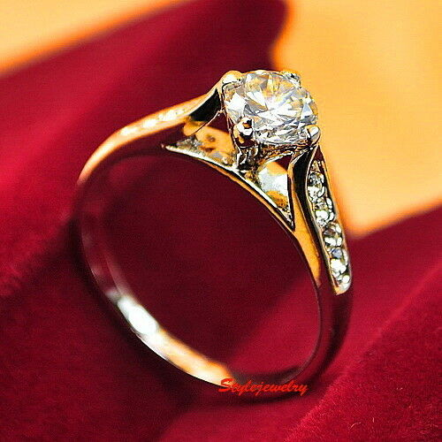 Women/'s Rose Gold Plate Solitaire Crystal Wedding Ring Size 5 SR137