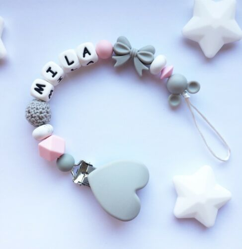 Pink Personalised Dummy Clip Soother Clip Silicone Clip Pacifier Clip