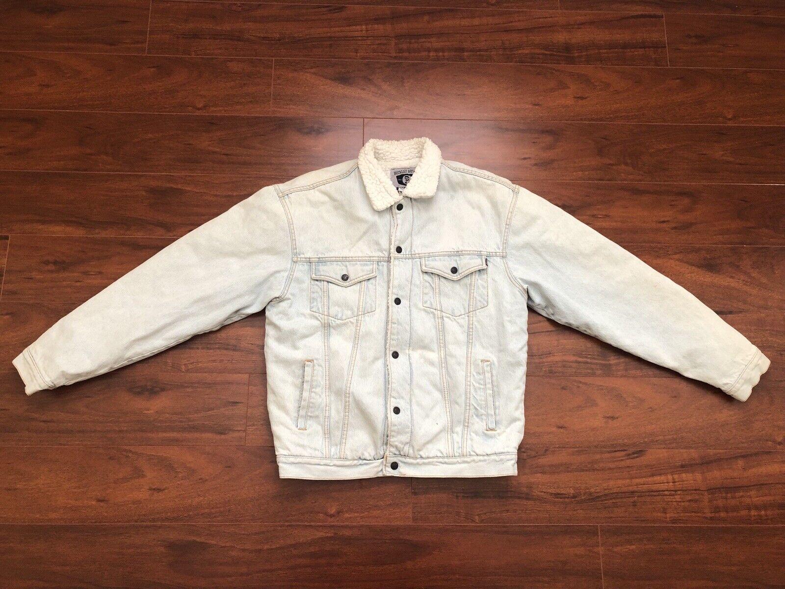 Vintage Buckley Bay Co Silber Tag Denim Jacket Light Blau M Medium Lined Fur