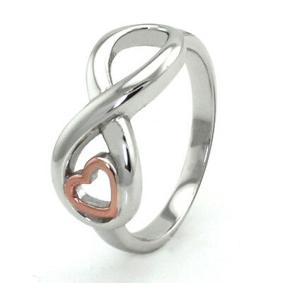 Sterling Silver 925 Infinity Engravable Ring w/ Rose Gold Plated Heart
