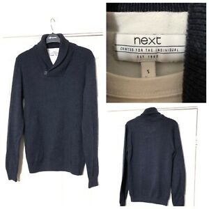 Next-Jumper-Navy-Blue-With-T-Shirt-Like-Under-Size-Small-S-Men-Warm-Winter-A888