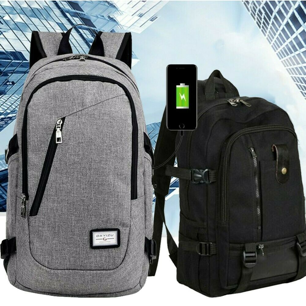 Anti-theft Unisex USB Charging Backpack Laptop Notebook Travel Hiking ... - s l1600