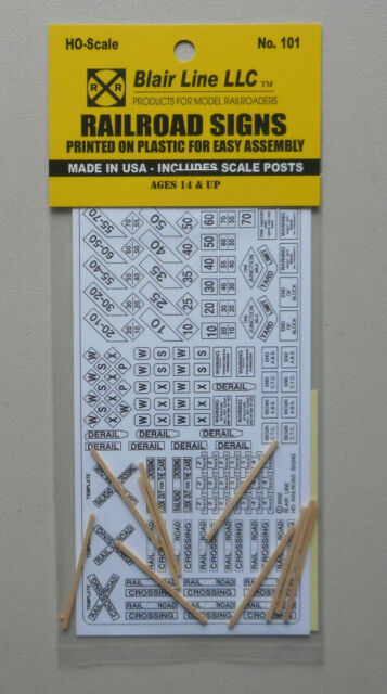 Blair Line 101 HO Railroad Signs /& wood posts   MODELRRSUPPLY  $5 Coupon