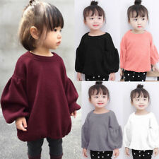 Kids Infant Baby Girls Sweaters Blouse Long Lantern Sleeve Pullover T Shirt Tops