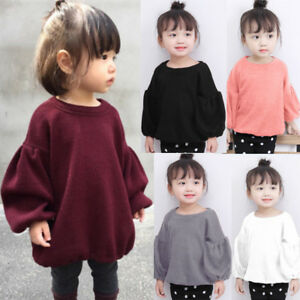 Kids Infant Baby Girls Sweaters Blouse Long Lantern Sleeve Pullover