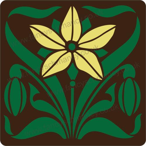 Estilo Art Nouveau Flor No.1 Azulejo De Manualidades Plantilla Reutilizable de Mylar de 10cm o 15cm