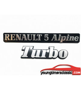 Lot-de-2-Monogrammes-RENAULT-5-ALPINE-TURBO-Logo