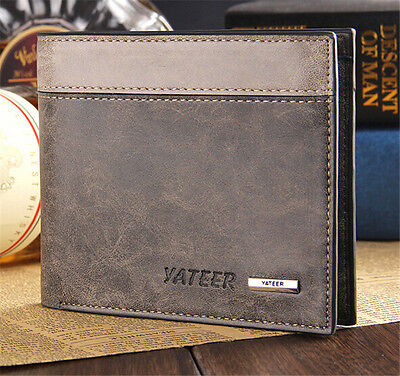 Fashion Men's Leather Bifold Wallet  Clutch Pockets Purse ID Credit Card Holder