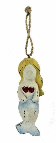 """Mermaid Hanging Figurine 5""""H Nautical Themed Hand Carved Wooden Ornament"""