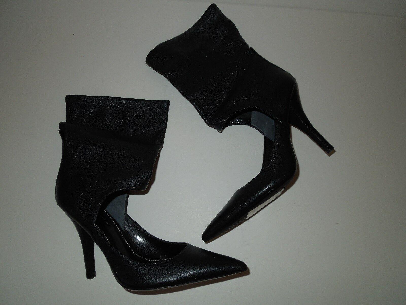 Neuf avec étiquettes sexy Paolo Paolo Paolo Noir ajourées en Cuir Talon Aiguille Chaussures W démarrage chevilles 7.5 m 5ba27d