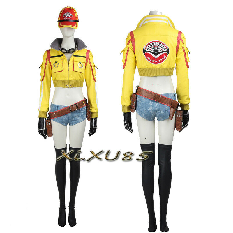 Final Fantasy XV 15 Cindy Aurum Hammer Head Service Station Hat and Jacket Cosplay Costume Patch