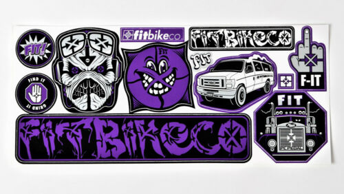 Fit Bike Co BMX Feuille Autocollant 12 Stickers-Feuille Taille 22 cm sur cycle NEUF
