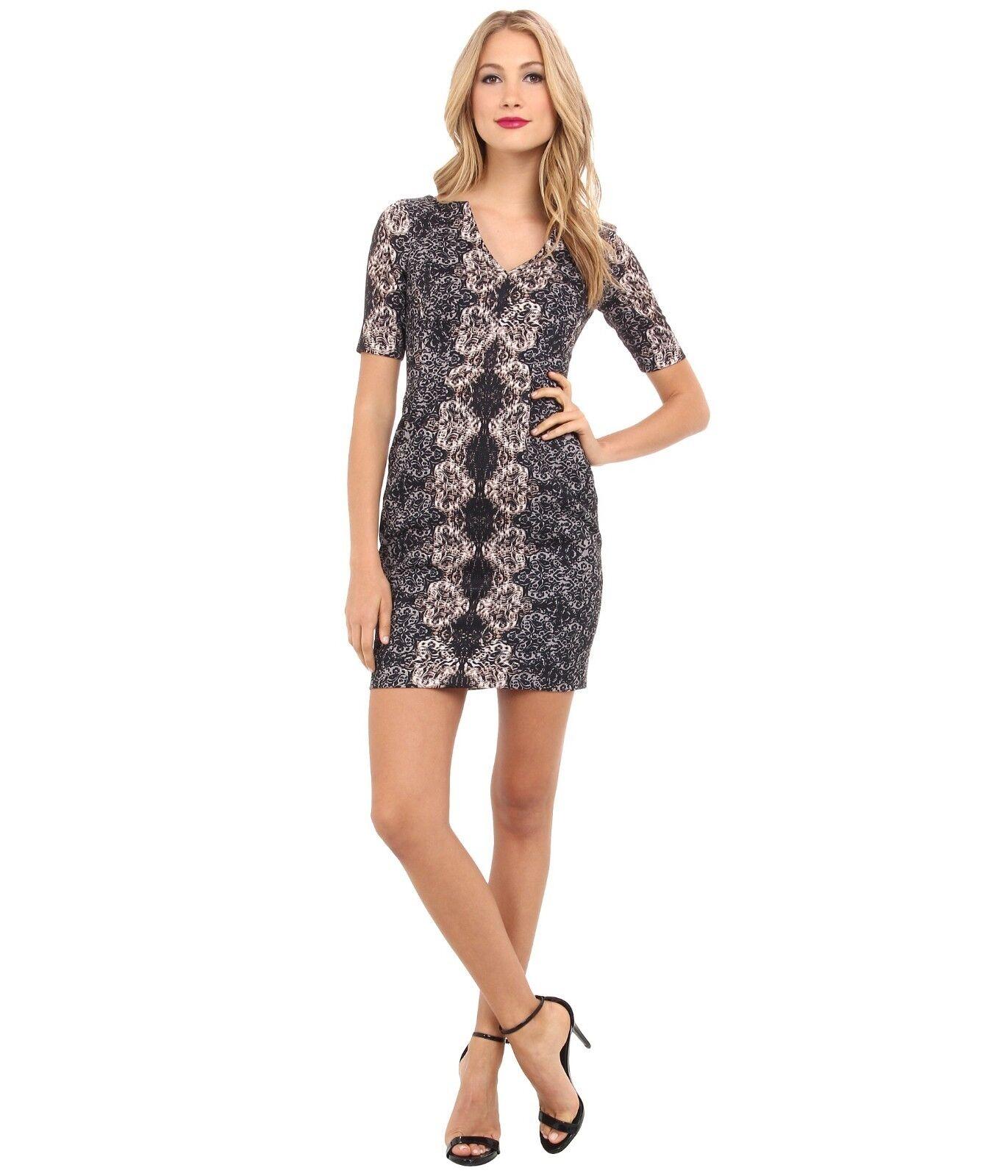NWT Nanette Lepore damen schwarz Multi Merry Go Round Sheath Dress Größe 0