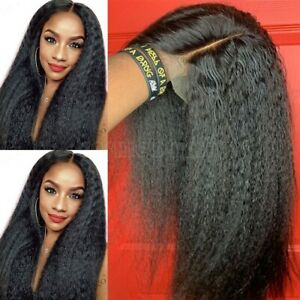 Hot-Yaki-Kinky-Straight-Wig-100-Indian-Human-Hair-Lace-Front-Wig-Black-Women-Xw