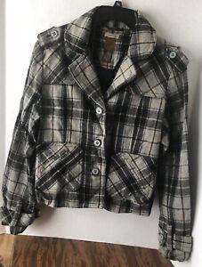 Ruff Hewn button down wool jacket-short waisted-Women's large-plaid