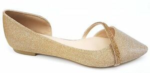 afccc69c4ab5 Image is loading Gold-Glitter-Pointed-Toe-Ballerinas-Diamante-Strap-Bridal-