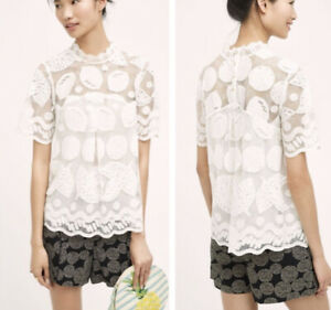 New-Anthropologie-Lemon-Lily-Lace-Top-Sz-0-By-Hd-In-Paris-White-Blouse-Shirt-NWT