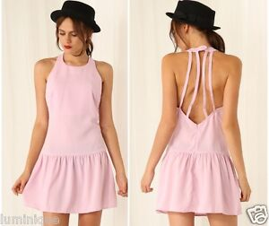 2bc686e5277 CutOut Backless Slip Dress High Neck Cute Pink M 10 12 L 14 Pleated ...