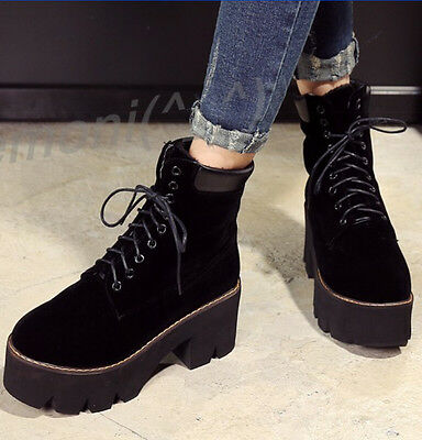 Women Chunky Heels Platform Retro Winter Shoes NEw Round Toe Lace Up Ankle Boots