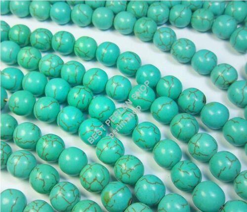 115 Gemme Turquoise Perles Pierre 3 Strang rond 10 mm Bijoux g55#3