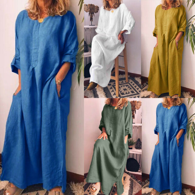 a1c4fb20157 Women Casual Long Sleeve Solid O-Neck Summer Cotton Maxi Dress With Pockets