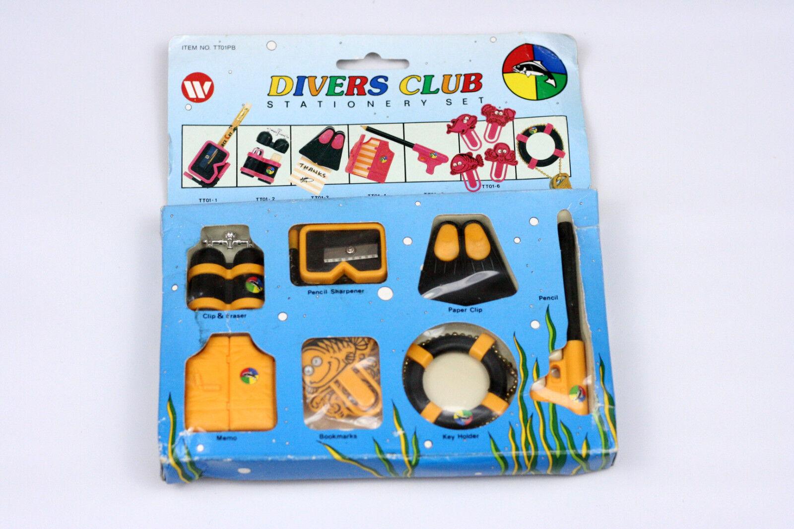Vintage 1990 Divers Club Stationary Set Pencil Sharpener Key Holders and More