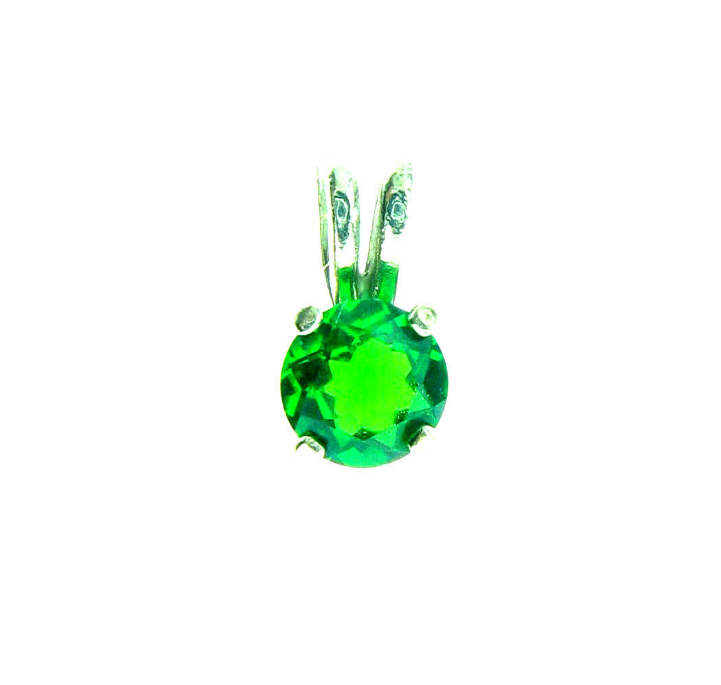 Russian Chrome Diopside 14K White gold Pendant 0.5Ct.