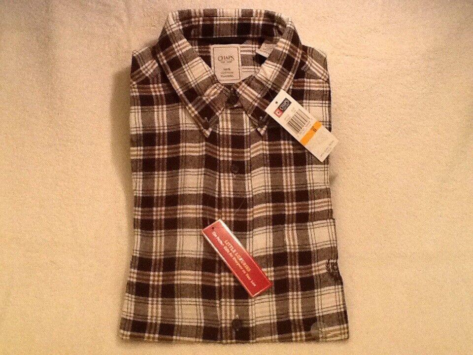 CHAPS Men's Long Sleeve FLANNEL Shirt SMALL brown & white PLAID  BNWT