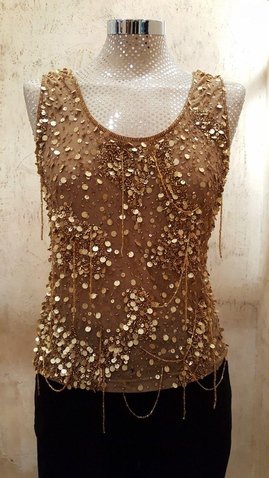 gold sequin and bead medium designer sleeveless top by Mondi was