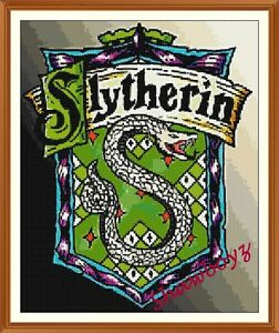 Harry-Potter-Slytherin-crest-badge-CROSS-STITCH-CHART-12-0-x-9-8-Inches