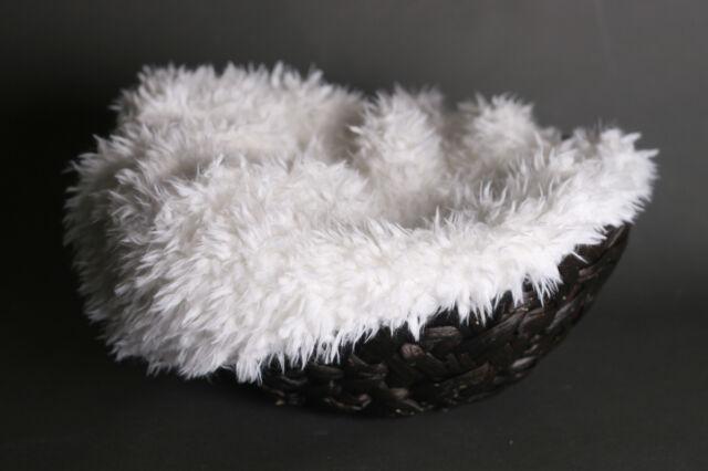 "Newborn Baby Lamb White 36""  X  30""  Faux Fur Photography  Prop Basket  Filler"