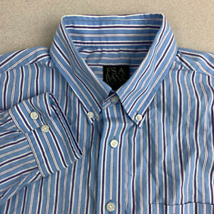Jos-A-Bank-Button-Up-Shirt-Mens-Large-Blue-Stripe-Long-Sleeve-Casual