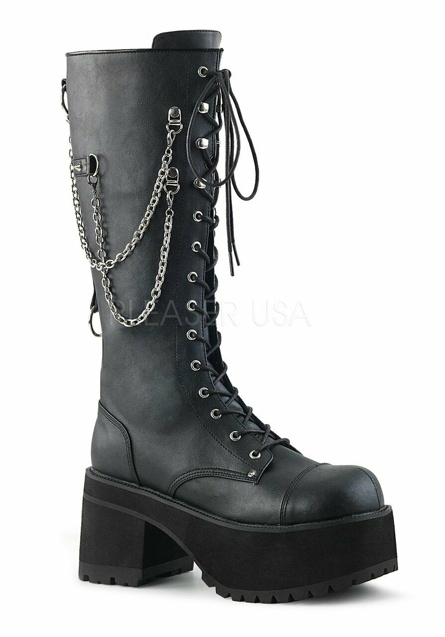Demonia RANGER-303 3 3 4'' Heel, 2 1 4'' Platform Knee High Boot, Metal Side Zip