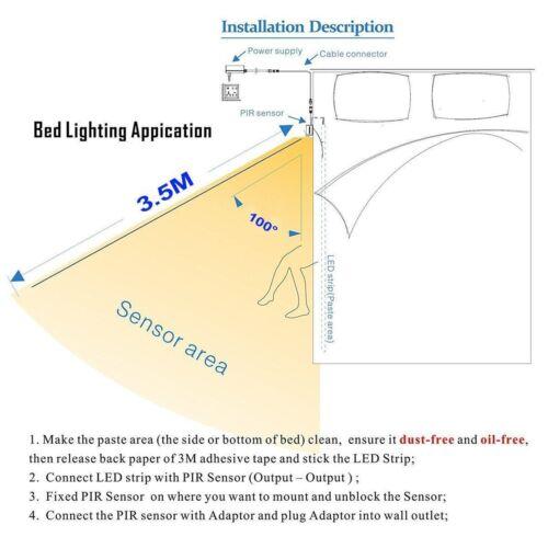 Strip Under Bed Light Motion Sensor Led White Activated Night Warm Wardrobe Kit