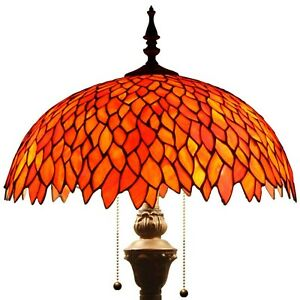 Tiffany Style Torchiere Wisteria Floor Lamp Red Stained Glass 64