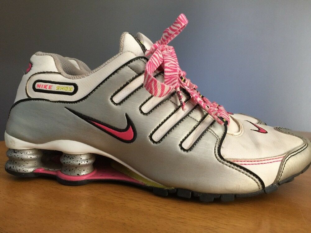 NIKE SHOX Hot Pink Zebra Lace Spotted Shock Athletic Sneakers Women Shoes Sz 8 ~