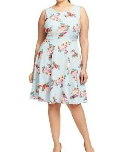Gilli-Light-Blue-Sleeveless-Floral-Print-Fit-And-Flare-Dress-Size-2X